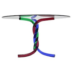 Mid Century Modern Vintage Red, Blue, Green Glass Dining Table Murano, Venice, Italy 1960s
