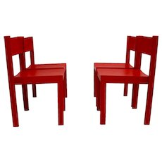 Set of four red Vintage Mid Century Modern Dining Room Chairs Vienna 1950s