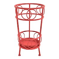 Red Metal Vintage Umbrella Stand 1970