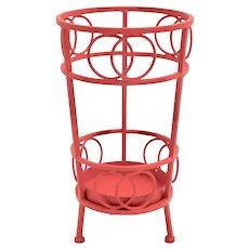 Red Metal Vintage Umbrella Stand 1970