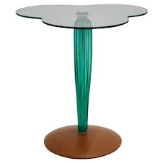 Modernist Vintage Side Table Green Glass by Seguso 1980s Italy