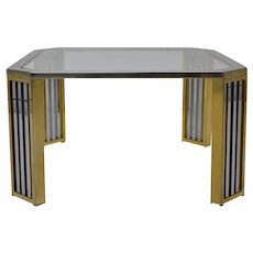Chrome and Brass Coffee Table Firenze Italy 1970