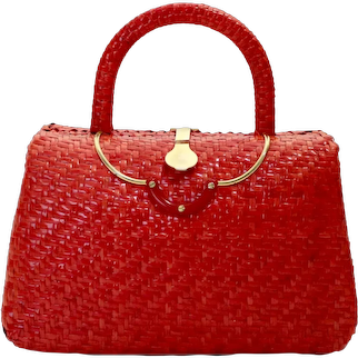 Vintage Red Straw Rattan Basket Handle Bag with Brass Clasp 1960s Italy