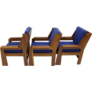 Set of three high-quality Oak Czech Cubism Art Deco Armchairs 1920s Czech Republik