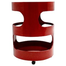 Red Round Vintage Two Tiered Side Table with Wheels by Opal Germany 1970s