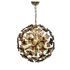 Golden Vintage Crystal Glass Sputnik Chandelier Italy 1960s