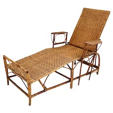 Rattan Chaise Longue by Perret & Vibert attr. France 1920s