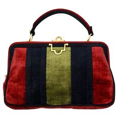 Velvet Vintage Handle Bag in the style of Roberta di Camerino 1960s Italy