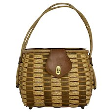 Straw and Leather Vintage Brown Basket Bag or Handle Bag 1950s