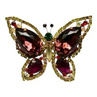 Vintage Brooch Butterfly with Stones