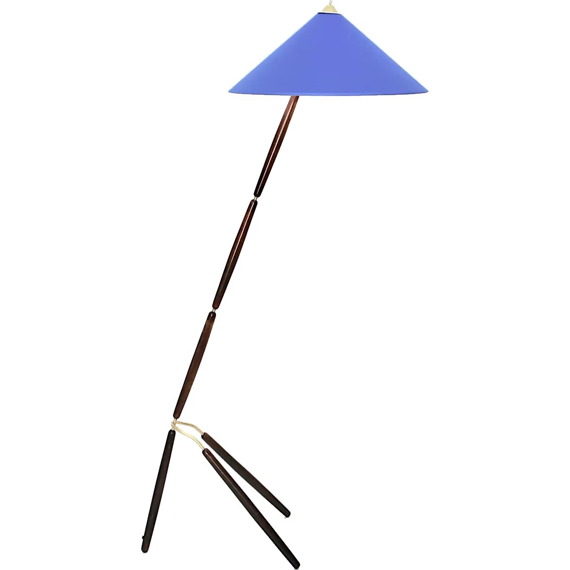 Image of: Blue Brass Wood Mid Century Modern Floorlamp By Guiseppe Ostuni Attr Nobarock Rubylux