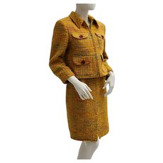 Valentino Vintage Yellow Boucle Jacket and Skirt