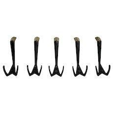 Mid Century Modern Set of Five Vintage Brass Wall Coat Hooks 1950s Vienna