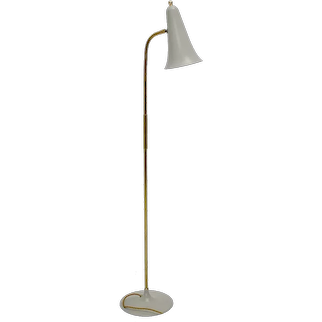 Scandinavian Modern Vintage Brass and Grey Metal Floor Lamp Denmark 1950s