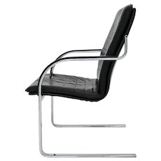 Vintage Mid Century Modern Black Leather Chromed Metal Desk Chair 1960s