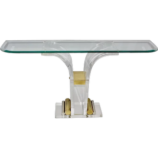 Vintage Lucite Brass Chromed Metal Console 1970s Italy