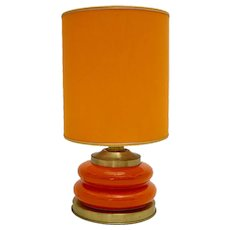 Mid Century Modern Vintage Orange Brass Gold Ceramic Table Lamp 1970s