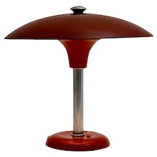 Red Art Deco Table Lamp or Desk Lamp by Max Schumacher 1934 Germany for Werner Schröder, Lobenstein