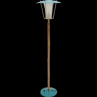 Mid century Modern Blue Bamboo Floor Lamp Karla by J.T.Kalmar c. 1960 Vienna, Austria