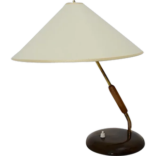 Art Deco Vintage Brass and Wood Table Lamp attributed to Guiseppe Ostuni 1940s Italy