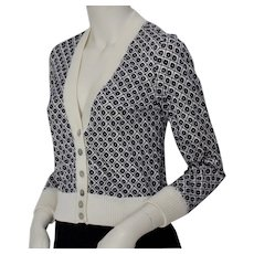 Rose Bernard Blue White Allover Pattern Vintage Cardigan 1960s