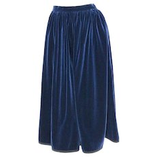 Blue Velvet Vintage Skirt by Yves Saint Laurent Rive Gauche