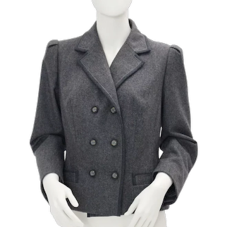 Vintage Grey Flannel Double Breasted Jacket 1980s