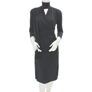 Black Vintage Wrap Evening Dress 1970s Italy