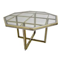 Mid Century Modern Vintage Brass Chrome Vintage Dining Table or Center Table 1970s Italy Style Romeo Rega