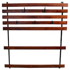 Carl Aubock Vintage Oak Metal Wall Coat rack, circa 1948 Vienna