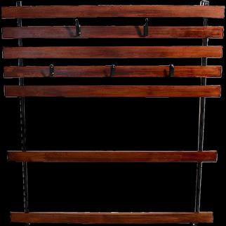 Carl Aubock Vintage Oak Metal Wall Coat rack, circa 1948 Vienna