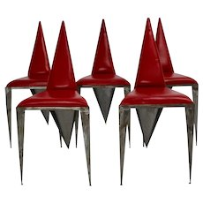 Pop Art Magic Set of 5 Vintage Trilegged Iron Red Leather Chairs 1960s Austria