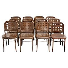 Josef Hoffmann Style Set of 12 Vintage Bentwood Dining Chairs 1990s