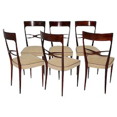 Six Italian Beech Dining Chairs Attr. to Melchiore Bega 1950s