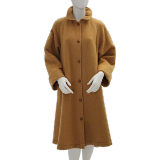 Guy Laroche Diffusion Paris Vintage Brown Wool Coat 1970s France