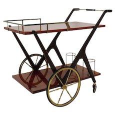 Italian Mid Century Modern Bar Cart by Cesare Lacca 1950s