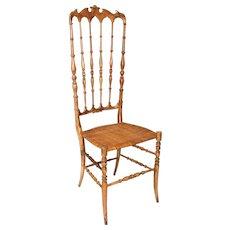 Italian Mid Century Modern Extra High Back CHIAVARI Chair 1940s