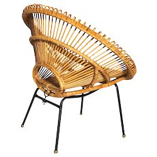 French Mid Century Modern Rattan Chair by Janine Abraham and Dirk Jan Rol