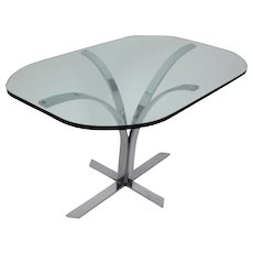 Glass and Chrome Dining Table 1960s Germany
