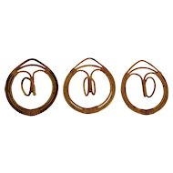 Three Rattan Coat Hooks by Franc Albini & Franca Held, Italy, 1961