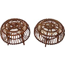 Pair of Wicker Poufs in the style of Franco Albini 1950s