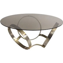 Mid Century Modern Coffee Table with three brassed Rings 1970s