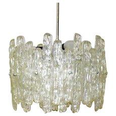 Mid Century Modern Iceglass Hanging Lamp by J. T. Kalmar 1960s
