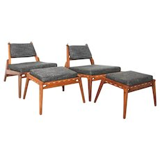 Lounge Chairs with Ottomans circa 1960