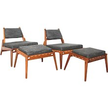 20th Century Danish Pair of Lounge Chairs with Ottomans
