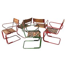 Set of 5 Austrian Garden Chairs attr. to Max Fellerer & Eugen Wörle circa 1948