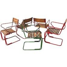 5 Austrian Garden Chairs attr. to Max Fellerer & Eugen Wörle circa 1948
