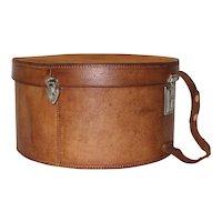 Austrian Leather Hat Box Travel Case circa 1950