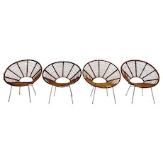 Four Rattan Chairs attributed to Janine Abraham and Dirk Jan Rol circa 1960 France