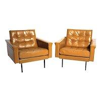 Mid Century Modern Pair of Leather Armchairs by Johannes Spalt c. 1959 Austria